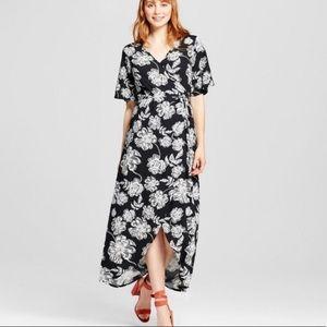 Who What Wear Floral Wrap Midi Dress